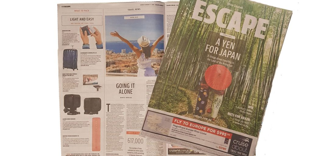 """Armourcard featured in the """"what to pack"""" article in the Sunday National News Limited Press Escape section"""